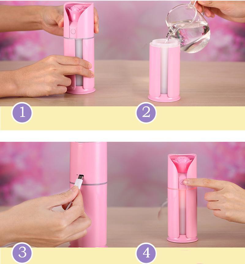 Creative Rose Love Air Humidifier Night Light Ultrasonic USB Humidifiers Mist Maker Mini Air Purifier Bedroom Decorations - Unnati Enterprises