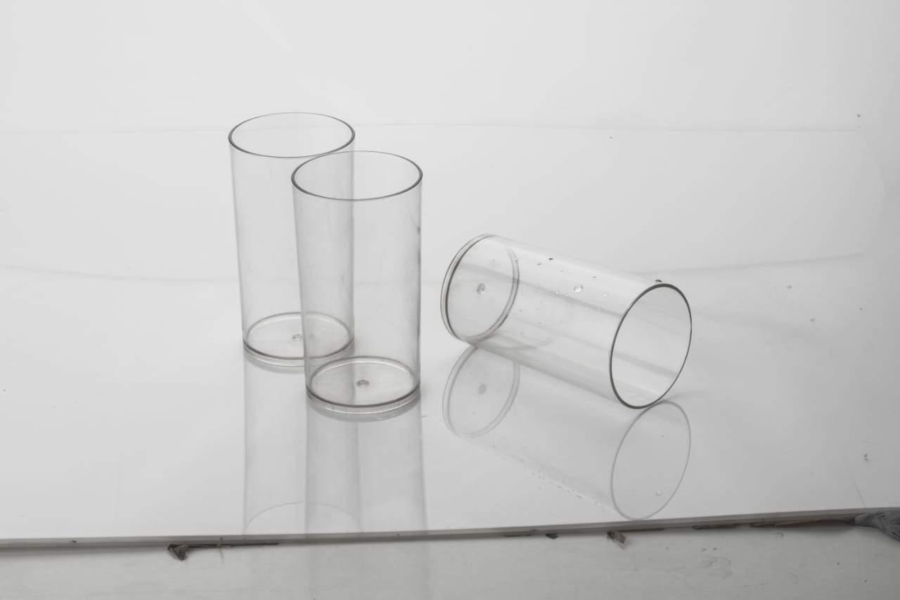 2027 Maitri Heavy unbreakable Plastic Stylish look fully Transparent Large Glasses Set 300ml (6pcs) - Unnati Enterprises