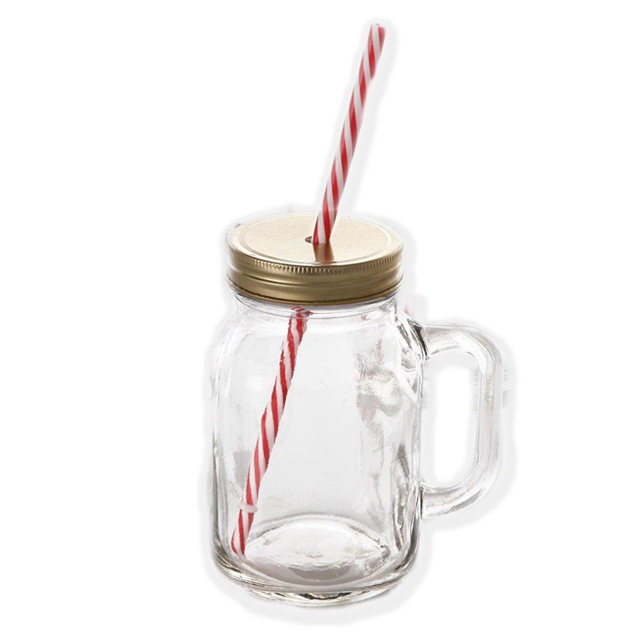 Drinking Cup/Glass/Mug Mason Jar with Handle & Straw - Unnati Enterprises