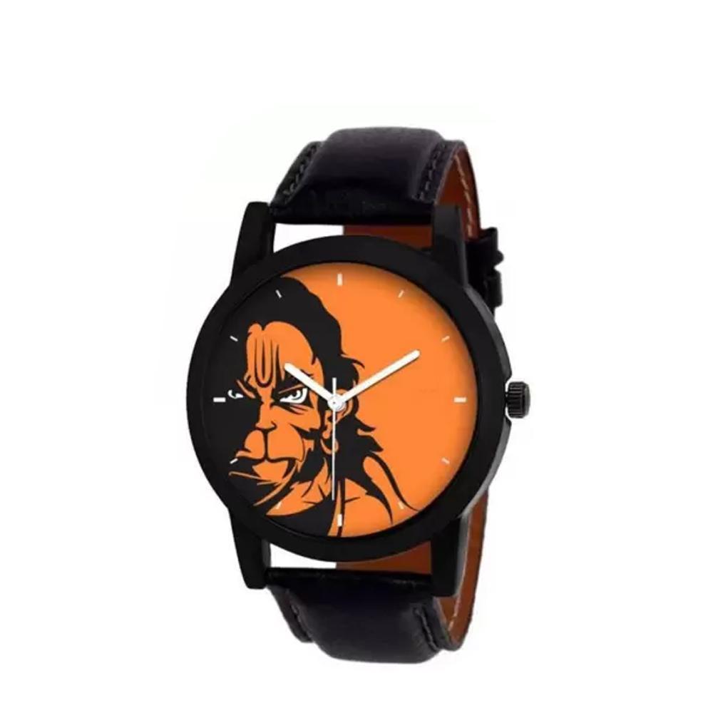 Unique & Premium Analogue Watch Hanuman Print Multicolor Dial Leather Strap (Watch 10) - Unnati Enterprises