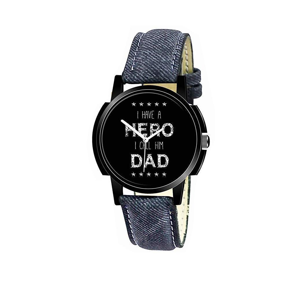 Unique & Premium Analogue Watch I have a HERO I call him DAD Print Multicolour Dial Leather Strap (Watch 12) - Unnati Enterprises