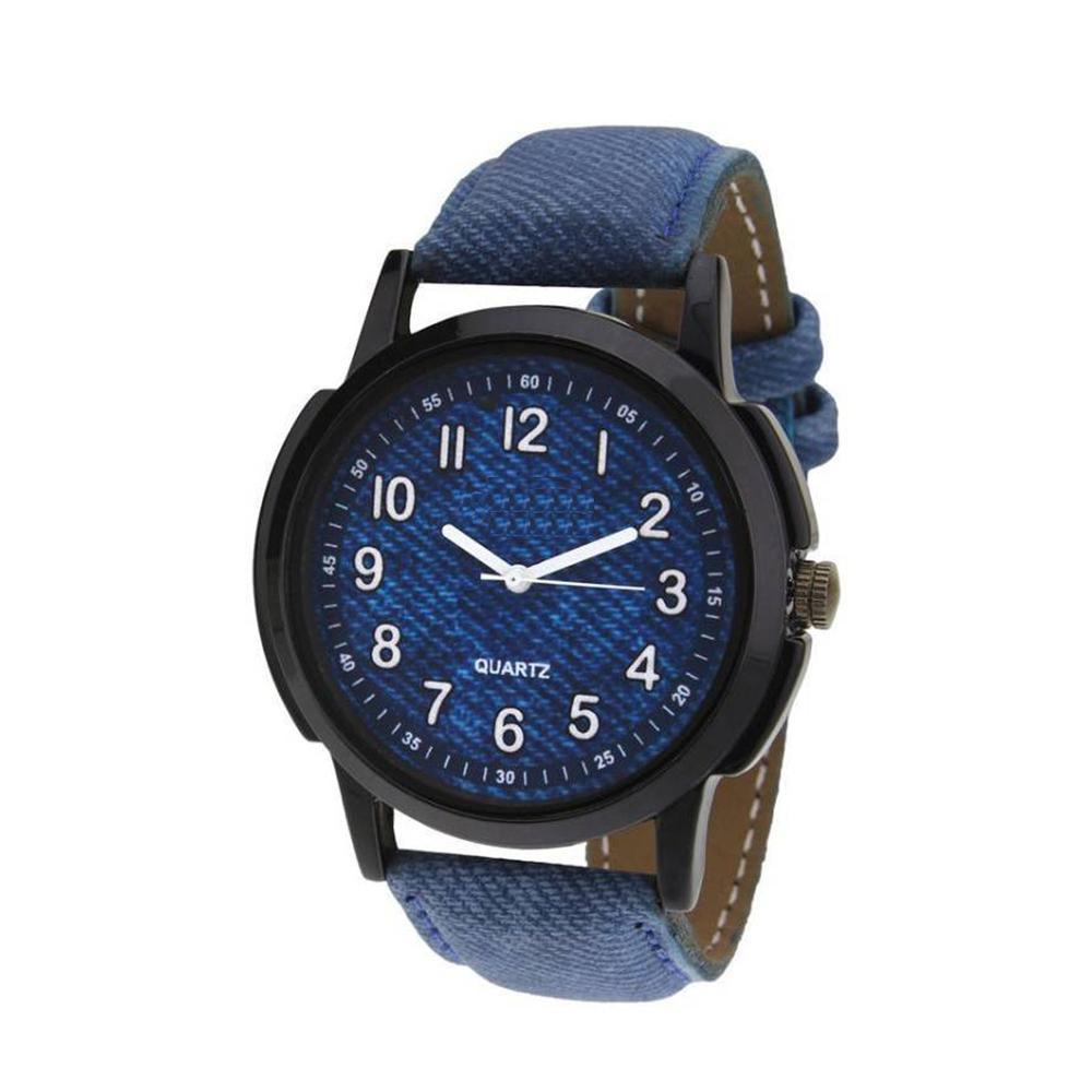 Unique & Premium Analogue Watch Denim Blue Print Dial Leather Strap (Watch1) - Unnati Enterprises